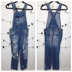 Zara Ripped Distressed Denim Bib Jumpsuit Overalls